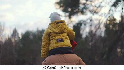 concept., levensstijl, buiten, vertragen, motion:happy, vaderschap, park., kind, mooi, jongen, zoon, weinig; niet zo(veel), gezin, concept, vader, vrolijke , zittende , papa, hals, zijn, family., baby