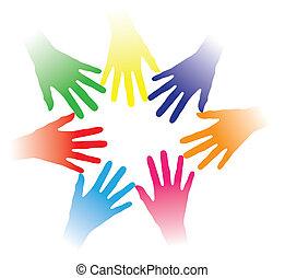 concept, mensen, anderen, gemeenschap, gehouden, bonding, vennootschap, groep, networking, het indiceren, kleurrijke, team, illustratie, portie hands, mensen, samen, multiracial, elke, geest, enz., sociaal