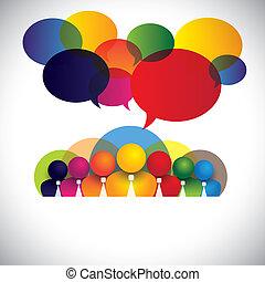 concept, mensen, anders, leden, raciaal, personeel, management, &, media, -, ook, plank, vector., witte , optredens, netwerk, kleurrijke, bedrijf, werknemers, conferentie, kraag, multi, grafisch, sociaal, stafmedewerkers