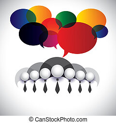 concept, mensen, leden, management, &, media, -, communicatie, ook, plank, vector., witte , optredens, netwerk, bedrijf, grafisch, conferentie, kraag, wisselwerking, werknemers, sociaal, collectieve stafmedewerkers