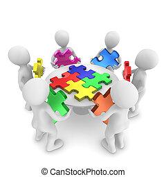 concept, mensen, zoekplaatje, teamwork, 3d