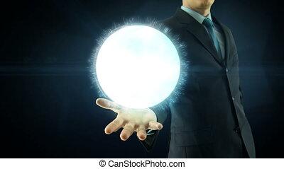 concept, netwerk, op, globaal, hand, digitale , internet, zakenman, houden