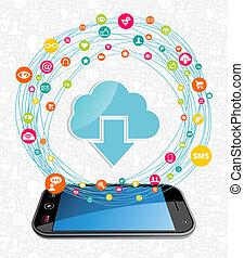 concept, netwerk, wolk, gegevensverwerking