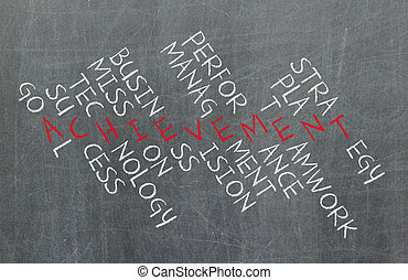 concept, opvoering, zakelijk, succes, management, maken, strategie, kruiswoordraadsel, componenten, teamwork, zulk, plan, enz., prestatie
