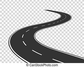 concept, road., asfalt, vrijstaand, highway., wikkeling, reis, verkeer, straat, horizon, perspective., gebogen lijn, lege