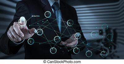 concept, scherm, voortvarend, oplossing, hand, diagram, beroeren, interface, zakenman