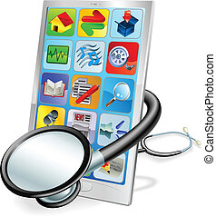 concept, tablet, telefoon, of, pc, gezondheid controle, smart