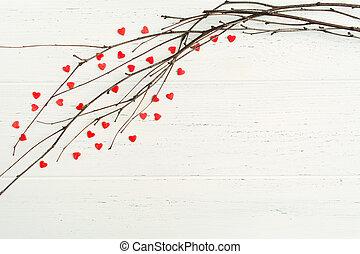 concept, takken, valentine, boompje, trouwfeest, -, achtergrond, zoet, hartjes, onwhite, dag