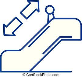 concept., vector, lijn, symbool, plat, pictogram, meldingsbord, schets, roltrap, illustration.