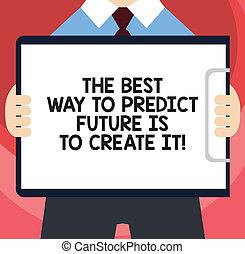 concept, voorspellen, tekst, leeg, jouw, best, makend, staand, horizontaal, lot, scheppen, schrijvende , klembord, vasthouden, kostuum, it., weg, betekenis, man, paper., toekomst, handschrift