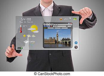 concept, wereld grafische voorstellng, gemaakt, gebruiker, digitale , interface, zakenman, presentatie, futuristisch