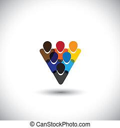 concept, werkkring mensen, gemeenschap, integriteit, netwerk, &, -, media, ook, eenheid, vector., internet, kleurrijke, het tonen, online, werknemers, vertegenwoordigt, grafisch, personeel, dit, enz., gemeenschap, sociaal