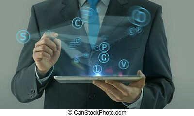 concept, wijzende, tablet, media handel, blok, sociaal, man, netwerk