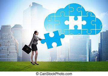 concept, wolk, gegevensverwerking, raadsel, jigsaw