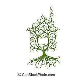 concept, woning, ecologie, groene, ontwerp, jouw