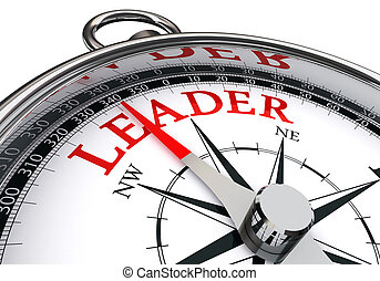 concept, woord, leider, rood, kompas
