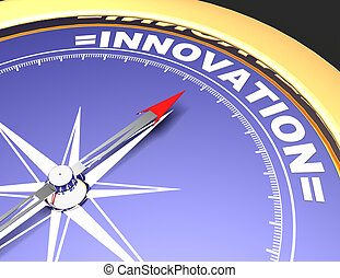 concept, woord, wijzende, abstract, naald, innovation., innovatie, kompas