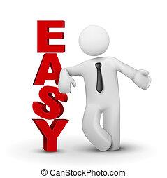 concept, woord, zakelijk, het voorstellen, gemakkelijk, man, 3d