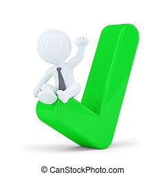 concept, zakelijk, bovenzijde, controleren, groene, zakenman, mark., vrolijke