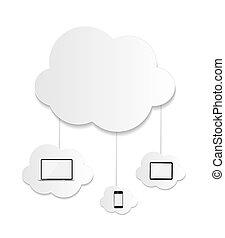 concept, zakelijk, gegevensverwerking, illustratie, vector, wolk