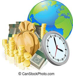 concept, zakelijk, geld, globe, tijd, wereld