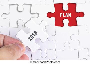concept, zakelijk, missende , raadsel, -, hand, 2018, vrouwlijk, plan.