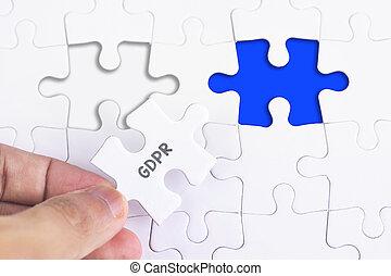 concept, zakelijk, missende , raadsel, word., -, hand, vrouwlijk, gdpr