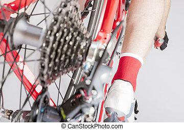 concepts., cycling, been, atleet, back, cassette, derailleur, inline, overzicht., sportende, sprokets., achterk bezichtiging