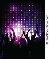concert, menigte, -, juichen, vector, achtergrond