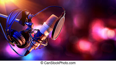 condensator, uitrusting, microfoon, studio, leven, opname