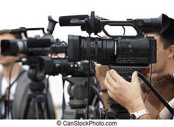 conferentie, fototoestel, journalistiek, zakelijk