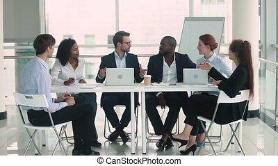 conferentie, groep, zakenlui, anders, teamwork, tafel, ingeving