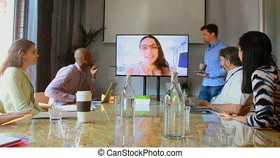 conferentie, mensen, video, hebben, bedrijfsvraag, 4k