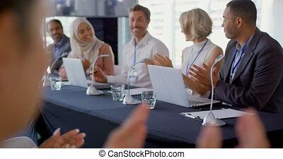 conferentie, paneel, afgevaardigden, applauding, zakelijk, zakenman, publiek