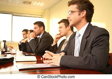 conferentie, personen, vijf, zakelijk