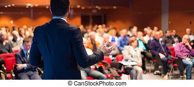 conferentie, presentation., spreker, zakelijk
