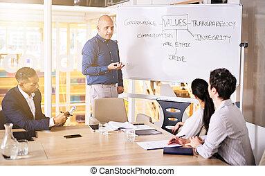 conferentie, zakelijk, bedrijf, brainstorming, waarden, kamer, groep, stafmedewerkers