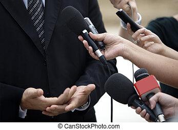conferentie, zakelijk, journalistiek, microfoons, vergadering