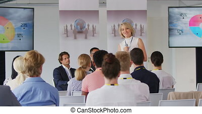 conferentie, zakelijk, vrouwlijk, aanspreken, spreker, publiek