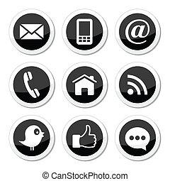 contact, media, sociaal, web, iconen
