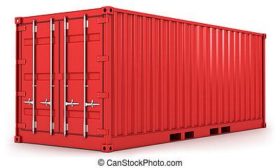 container, rood, vracht, vrijstaand