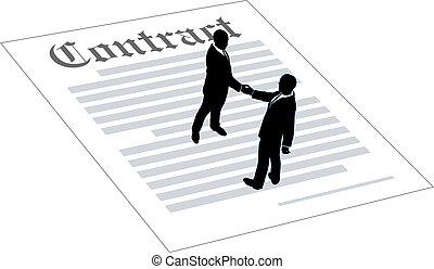contracteren, mensen, overeenkomst, bedrijfsteken