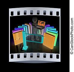 controle, concept, filmen wapenbalk, man., 3d