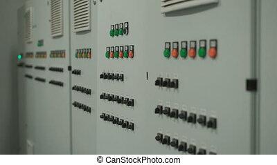 controle, grijs, vlot, kavels, groot, verhuizen, switches., knopen, muur, fototoestel, uitrusting, factory., langs, elektronisch paneel