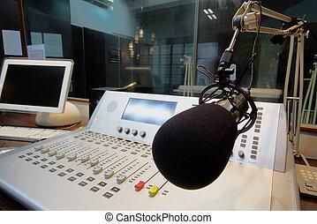 controle, mic, radiouitzending, studio, paneel, voorkant