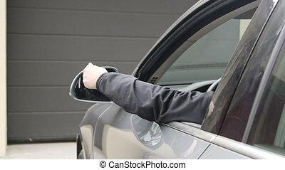 controle, ver, vasthouden, open, auto, bestuurder, garage, vrouwlijk, deur, automatisch