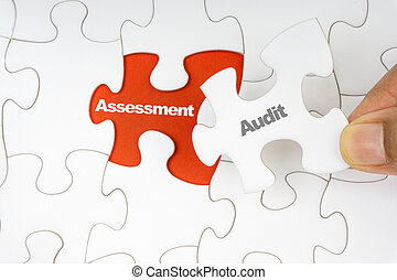 controle, woord, assessment., raadsel, jigsaw, hand houdend, stuk