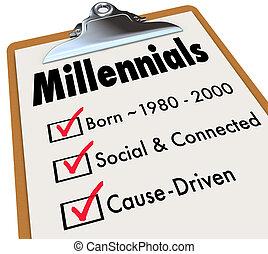 controlelijst, leeftijd, driven, millennials, klembord, samenhangend, sociaal, oorzaak