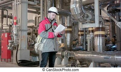 controlelijst, plant, binnen, macht, ingenieur