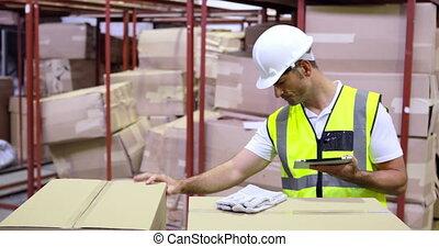 controleren, arbeider, magazijn, dozen